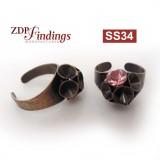 Round Flower Ring Settings For Swarovski SS34-Antique Brass