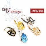 14x10mm Pear Bezel Lever back Earrings for Swarovski 4320  (LBN21V)