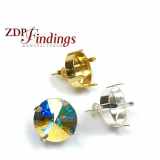 Round 16mm Bezel Earrings Fit Swarovski 1122