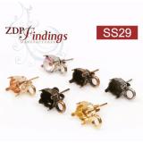 Round ss29 Bezel Post Earrings Fit Swarovski Rivoli 29ss