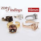 10mm Square Adjustable Ring Bezel For Setting Fit Swarovski 4470