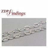 8x5mm Sterling Silver Chain Oval Flat Hammered Links