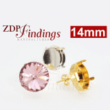 Round 14mm Bezel Earrings Setting Fit Swarovski 1122