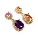 18x13mm 4320 Swarovski Post Rhinestone Earrings, Choose your options-Rose Gold-Crystal