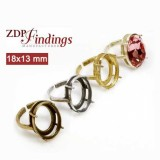 18x13mm Oval Adjustable Ring Settings fit Swarovski 4120