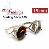 Round 18mm Setting Silver 925 Ring Fit Swarovski 1122