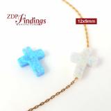 12x9mm Opal Cross Bead Charm for Bracelet