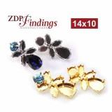 Pear 14x10mm Bezel Earrings fit Swarovski 4320, Navette 4228