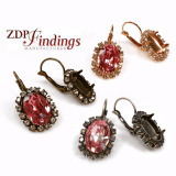 Oval 14x10mm Earrings Setting Fit European Crystals 4120