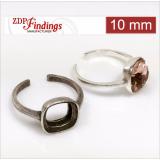 10mm Square Bezel Adjustable Silver 925 Ring For Gluing fit Swarovski 4470