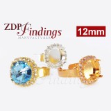 12mm Ring w/ White Crystal Rhinestone fit Swarovski Rivoli 1122