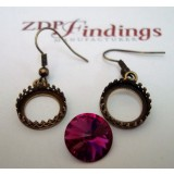 14mm Ear Wire Earring, Antique Brass