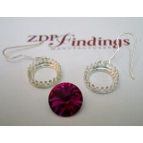 14mm Ear Wire Earring, Shiny Silver