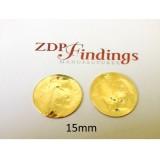 15mm Round Shiny Gold Discs
