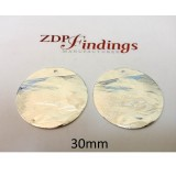30mm Round Shiny Silver Discs