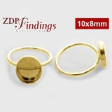 10x8mm Oval Bezel on Ring,  Gold Filled. Choose your size.