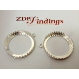 25mm Round 925 Sterling silver Bezel, choose your finish.