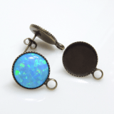 Round 12mm Post Earrings Setting Fit Cabochon Gem-Antique Brass