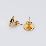 10mm Round Low Bezel Post Earrings-Shiny Gold
