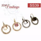 ss39 1028, 1088 Swarovski Lever back Rhinestone Earrings-Antique Silver-Crystal