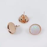 10mm Round Low Bezel Post Earrings-Rose Gold