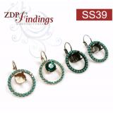 ss39 1028, 1088 Swarovski Lever back Rhinestone Earrings-Shiny Silver-Turquoise