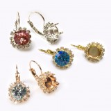 Round 8.2mm Earrings with Crystal Rhinestones fit Swarovski ss39