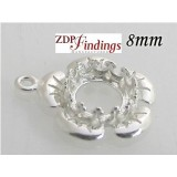 8mm Round 925 Sterling silver Bezel, choose your finish.