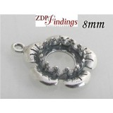 8mm Round 925 Sterling silver Bezel