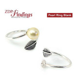 Silver 925 Adjustable Ring Peg Blank for Half Drilled Pearls