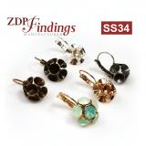 Flower Dangle Earring bases For Gluing Swarovski SS34