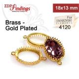 18x13mm Oval Brass Bezel