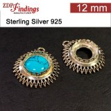 12mm Round 925 Sterling silver Bezel