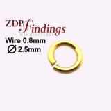 14k Gold Filled Jump Rings 0.8mm Gauge x 2.5mm