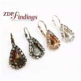 Pear Shape Drop 13x7.8mm Bezel Earrings Setting Fit European Crystals 4328