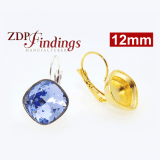 Square 12mm Bezel Earrings For Gluing Swarovski 4470