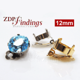Clip on Earrings Square 12mm Settings fit Swarovski 4470