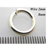 Silver 925 2mm x8mm Silver Jump Rings