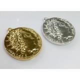 35mm Antique Coin Roman Medallion -Shiny Gold