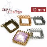 Square 12mm Cast Bezel Pendant For Setting fit Swarovski 4447