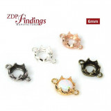 New! 6mm Evolve Crown Bezel setting Collection -Antique Silver
