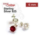 6mm Bezel Post Earring, 925 Sterling silver