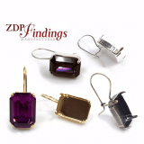 Octagon 18x13mm Bezel Kidney Wire Earrings Setting Fit European Crystals 4610