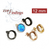 12mm Round Post Bezel Earring Setting