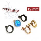 12mm Round Post Bezel Earring Setting