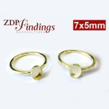 7x5mm Oval Gold Filled Bezel Ring Setting