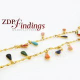 4x9mm Multi-color Pear shape, Rosary Chain