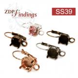 Round 8.2mm Bezel Leverback Earrings Fit Swarovski SS39