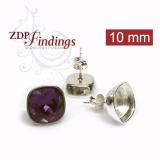 Square 10mm Silver 925 Post Earrings Fit Swarovski 4470