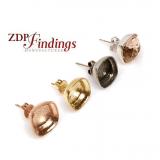 Square 10mm Bezel Post Earrings For Gluing Swarovski 4470